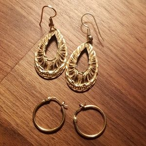 Jewelry - Earrings lot of 2 hoops and dangles